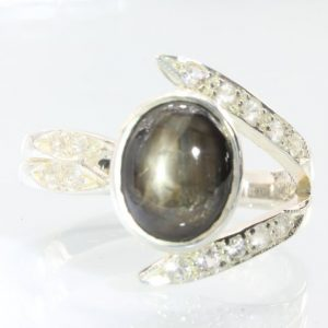 Star Black Sapphire with White Sapphire Handmade 925 Silver Ladies Ring size 9
