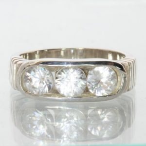 Natural White Zircons Handmade Sterling Silver Unisex Channel Set Ring size 7