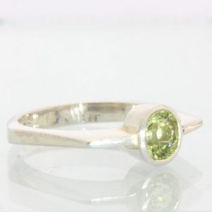 Yellow Green Mali Garnet Handmade 925 Silver Unisex Gents Ladies Ring size 9.5