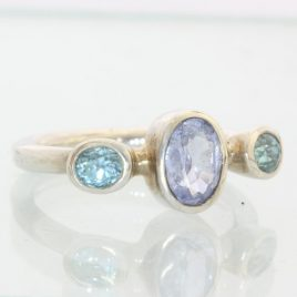 Blue Lavender Spinel and Blue Zircon Handmade Sterling Ladies Ring size 8.75