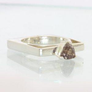 Color Change Garnet Handmade Sterling Unisex Gents Ladies Square Ring size 6.25