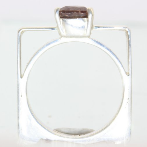 Color Change Garnet Handmade Sterling Unisex Gents Ladies Square Ring size 6.25