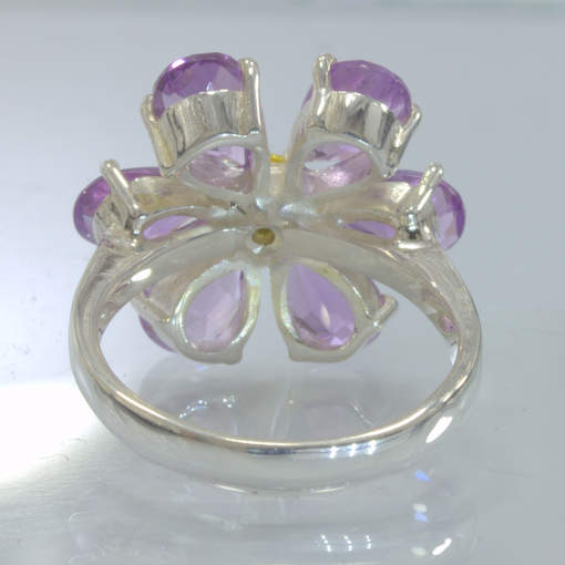 Purple Amethyst Yellow Sapphire Handmade Silver Flower Ring size 7.25 Design 424