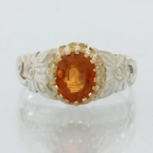 Fanta Orange Spinel Faceted Oval Handmade Sterling Silver Ladies Ring size 7