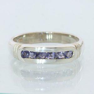 Blue Iolite Gemstone Unisex Gents Ladies Handmade Silver Channel Ring size 8.75