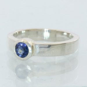 Blue Sapphire Handmade Sterling Silver Unisex Stackable Solitaire Ring size 5