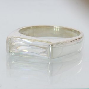 White Sparkling Clear Cubic Zirconia CZ Handmade Silver Gents Ring size 11.75