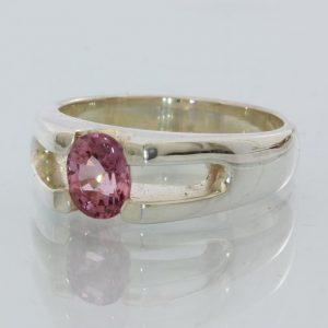 Purplish Pink Spinel Handmade Sterling Silver Unisex Ladies Gents Ring size 9