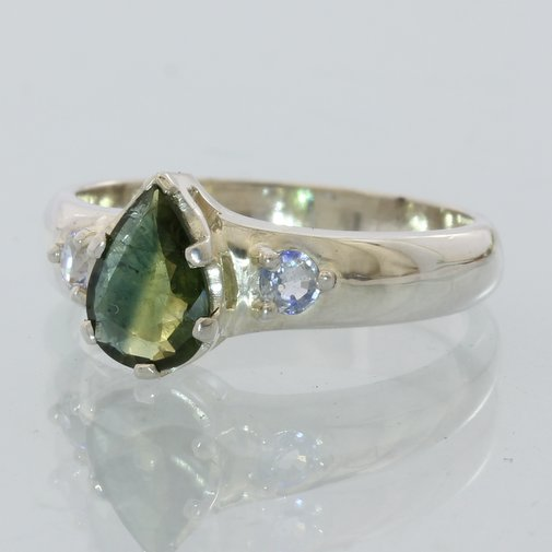 Yellow Blue and White Sapphire Handmade Sterling Silver Ladies Ring size 7.5