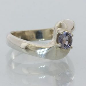 Purple Spinel Gemstone Handmade Sterling Silver Ladies Solitaire Ring size 6.25