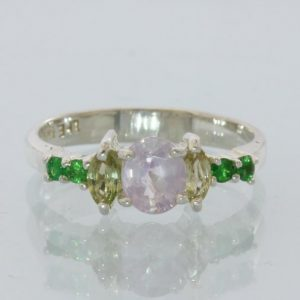 Pink Sapphire Yellow Sapphire Green Tsavorite Handmade Silver Ladies Ring size 8
