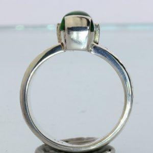 Green Mawsitsit Handmade Argentium 960 Silver Unisex Gents Ladies Ring size 10.5