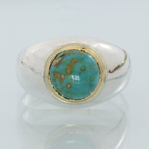 American Turquoise Handmade Sterling Silver and 18K Gold Gents Ring size 8.5