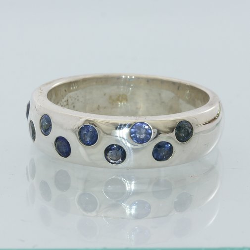 Blue Sapphire Handmade Sterling 925 Silver Unisex Gents Ladies Ring size 9.75
