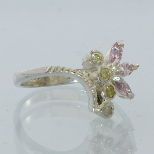 Pink Sapphire and Yellow Diamond Handmade Sterling Silver Ladies Ring size 6.25