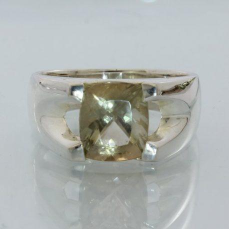 Bi-color Green and Copper Oregon Sunstone Gents Handmade Silver Ring size 11