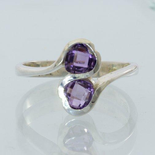 Purple Amethyst Pair of Heart Gems Handmade Sterling Silver Ladies Ring size 8