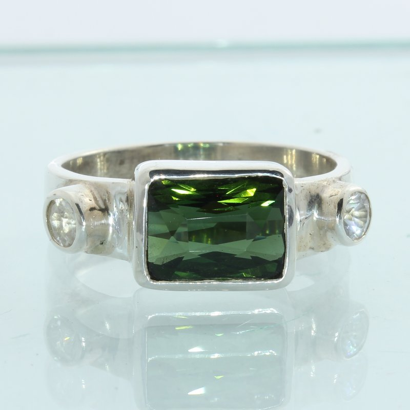 Green Tourmaline White Topaz Handmade Sterling Silver Unisex Ring size 10.75