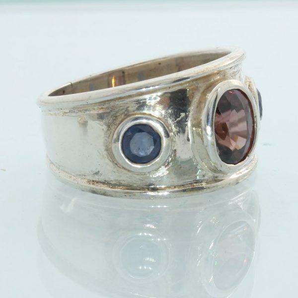 Dark Raspberry Spinel Blue Sapphire Handmade Sterling Silver Ladies Ring sz 7.25