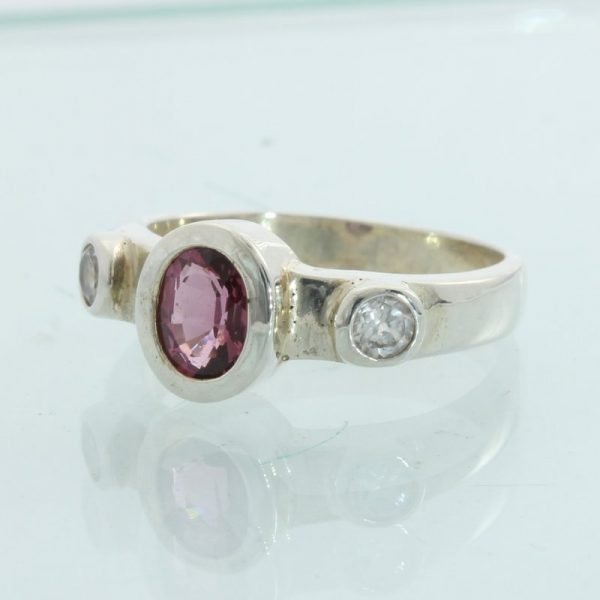 Purple Pink Spinel White Topaz Handmade Sterling Silver Ladies Ring size 6.5