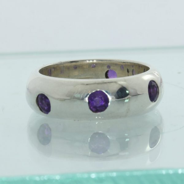 Natural Amethyst 3mm All A Round Set Handmade Sterling Silver Ladies Ring size 7