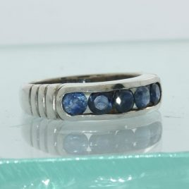 Sapphire African Blue Channel Set Handcrafted Sterling Silver Unisex Ring size 9