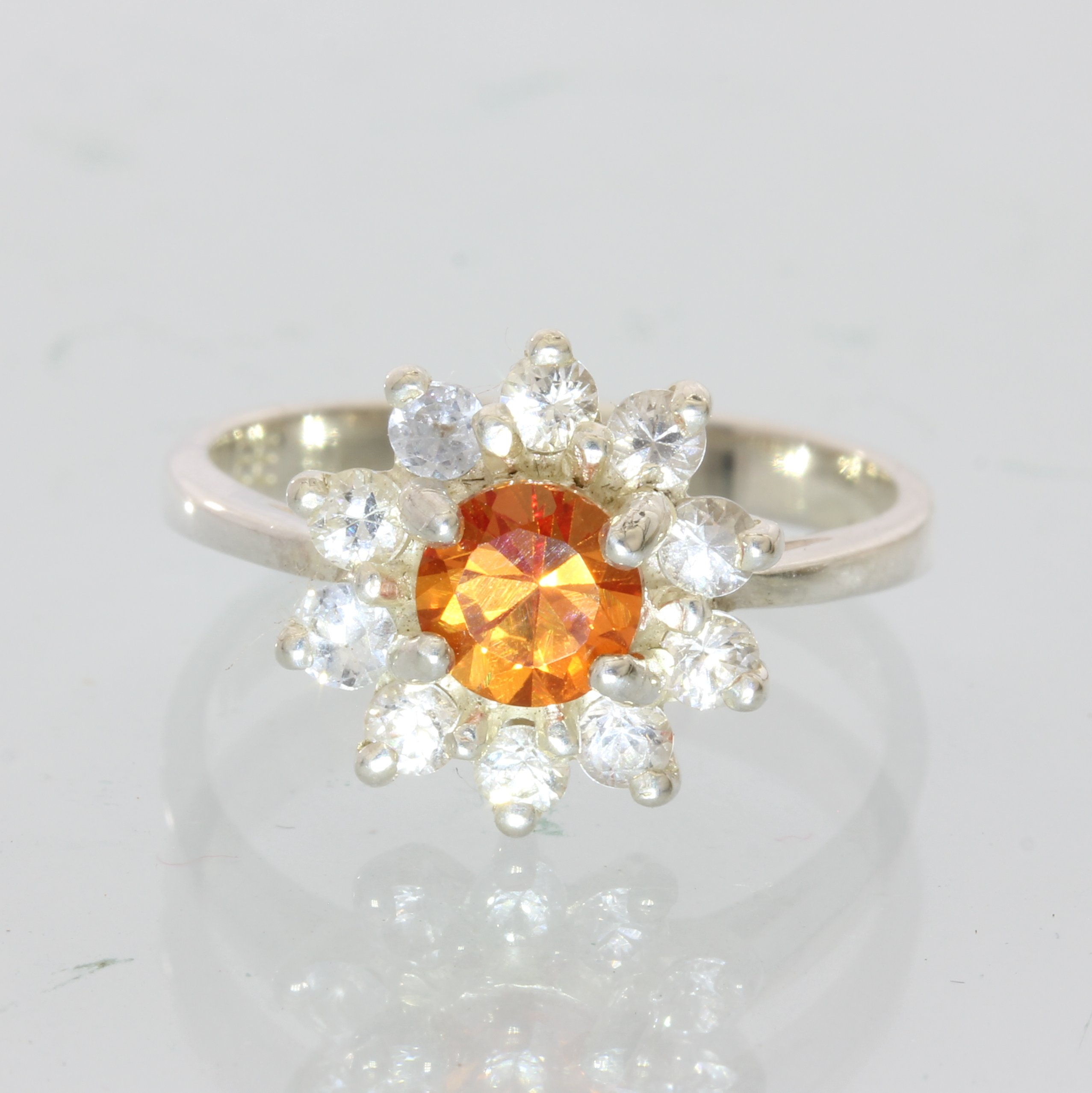 Orange Sapphire and White Sapphire Gemstone Halo Sterling 925 Silver Ring size 6