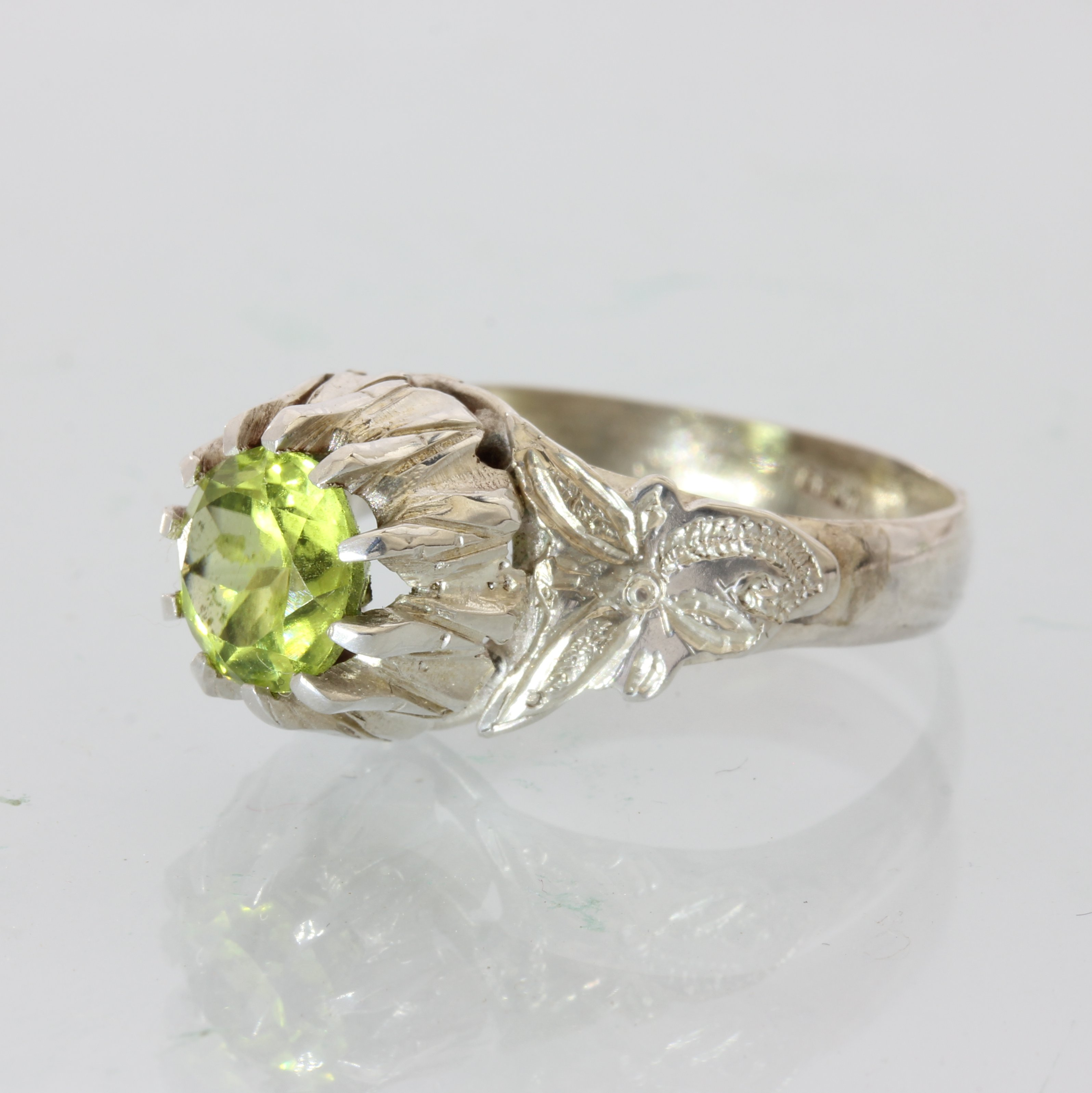 Natural Green Peridot in Flower of the Angels Handmade Silver Ring size 7.5