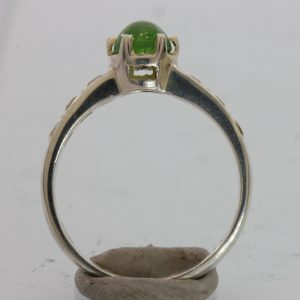 Green Chrome Tourmaline and White Sapphire Handmade Silver Ladies Ring size 6.25