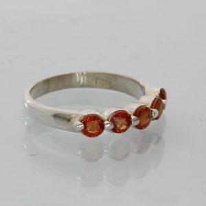 Red Orange Sapphire Gemstones Handmade Sterling 925 Silver Ladies Ring size 6.25