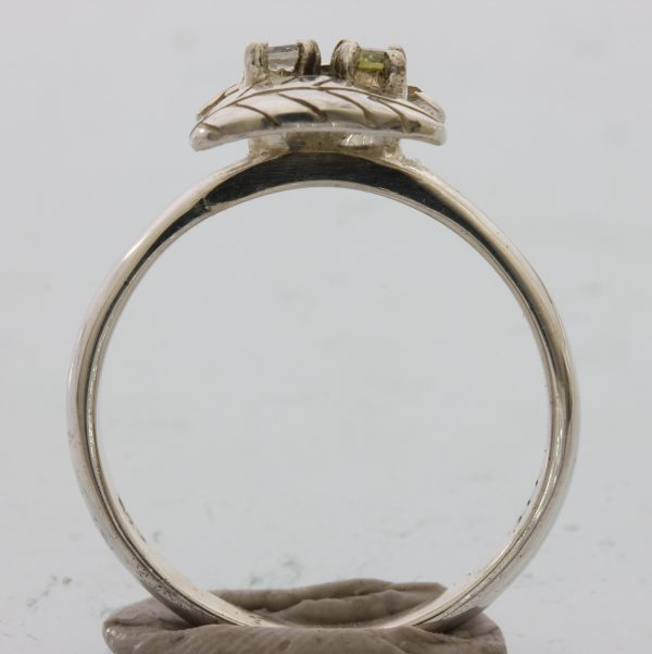 Light Blue Aquamarine Green Peridot Hand Tooled 925 Silver Ladies Ring size 8.75