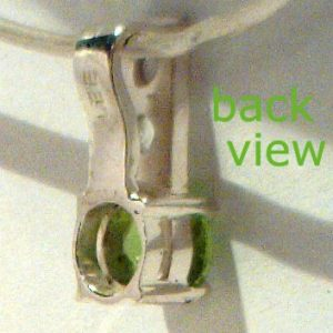 Premium Green Peridot, Clear White Topaz Gems in Handmade Silver Ladies Pendant