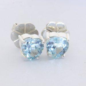 Light Blue Topaz Heart Gems 925 Silver Studs Ladies Post Pair Earrings Design 80