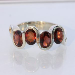 Red Orange Almandine Garnet Ovals 925 Silver Ring size 10 Wavy Unisex Design 123