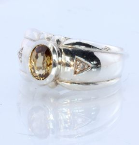 Natural Sparkling Yellow Zircon Handmade Sterling Silver Ring #1513 Size 10.25