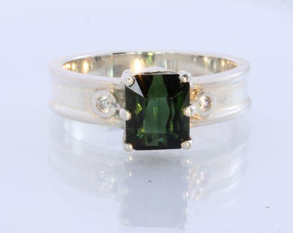 Natural Sparkling Sapphire Tourmaline Handmade 925 Silver Ring #1511 Size 11