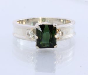 Natural Sparkling Sapphire Tourmaline Handmade 925 Silver Ring #1511 Size 11