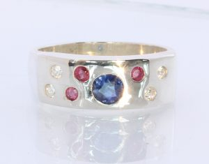 Natural Sparkling Zircon Ruby Sapphire Handmade 925 Silver Ring #1511 Size 9.0