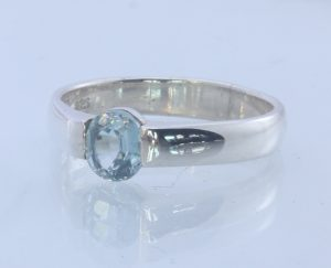 Natural Sparkling Blue Zircon Handmade Sterling Silver Ring #1509 Size 8.25