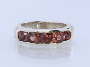 Natural Sparkling Red Zircon Handmade Sterling Silver Ring #1507 Size 6.5