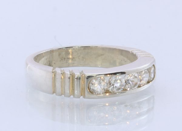 Natural Sparkling White Zircon Handmade Sterling Silver Ring #1506 Size 12.5
