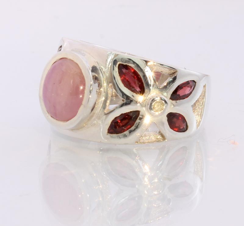 Rhodolite Garnet Pink Star Sapphire Diamond Handmade Silver Ring #1506 Size 12.5