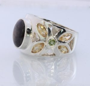 Black Star Sapphire Green Sapphire Citrine Handmade Silver Ring #1506 Size 12.5