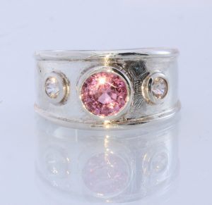 Pink Spinel White Zircon Handmade Sterling Silver Unisex Solitaire Ring #1505 Size 8.25