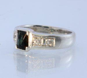 Green Tourmaline White Topaz Handmade Sterling Unisex Solitaire Ring #1503 Size 6.75