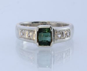 Green Tourmaline White Topaz Handmade Sterling Unisex Solitaire Ring #1503 Size 6.75