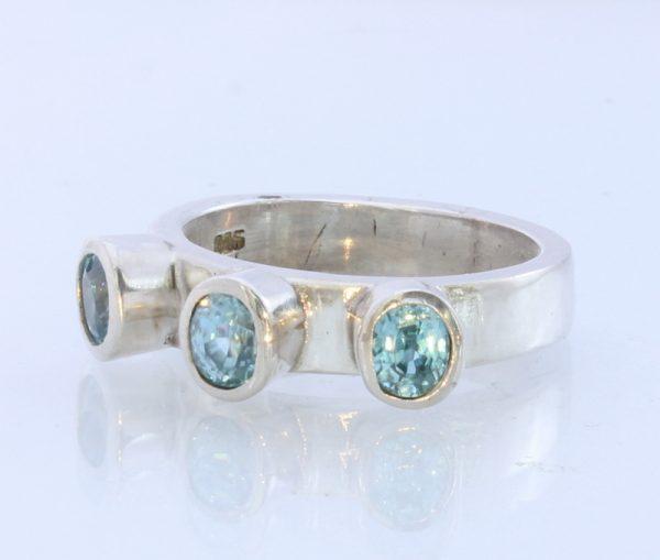 Sparkling Blue Zircon Handmade Sterling Silver Unisex Ring #1515 Size 7.5