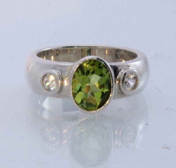 White Zircon Green Peridot Handmade Sterling Silver Unisex Ring #1518 Size 8