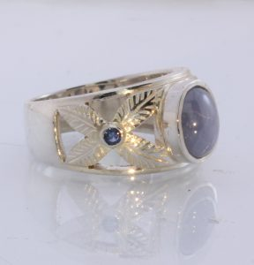 Star and Blue Sapphire Handmade 925 Silver Solitaire Unisex Ring #1519 Size 10.5