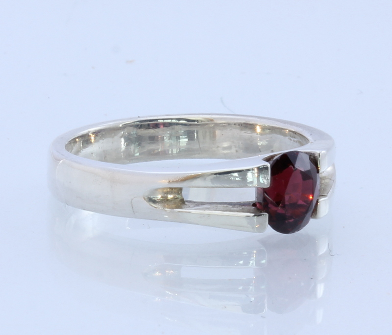 Dark Red Spinel Handmade Sterling Silver Stackable Ladies Ring #1526 Size 8